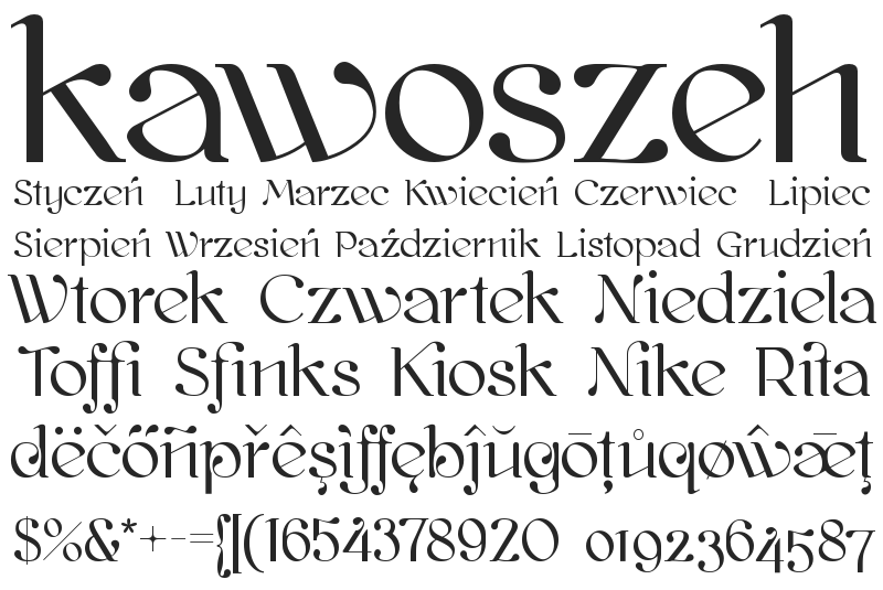 Illustration for Kawoszeh font