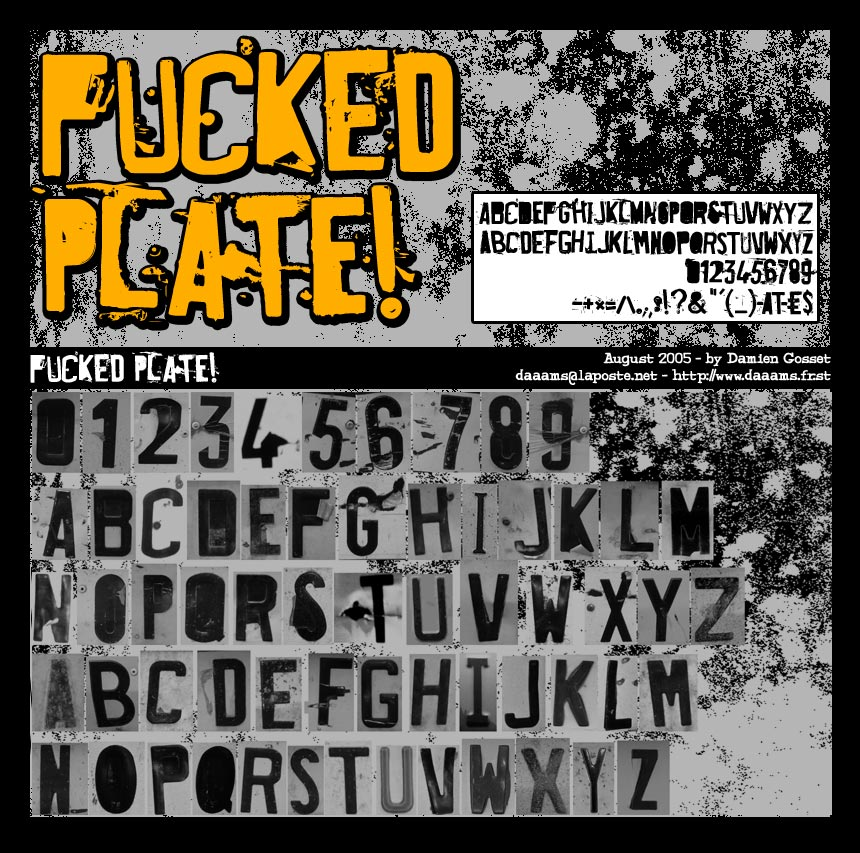 Illustration for Fucked Plate font