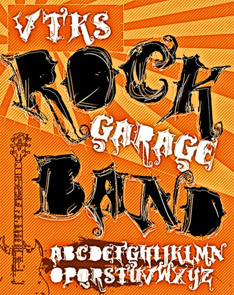 Illustration for VTKS Rock Garage Band font