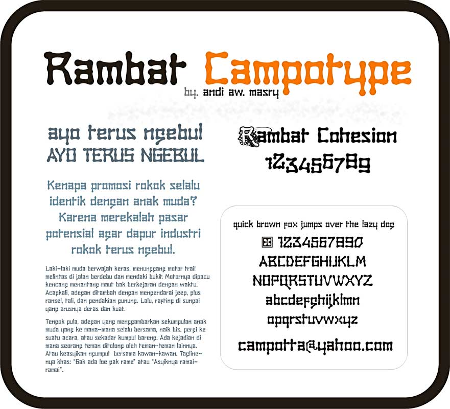 Illustration for Rambat Campotype font